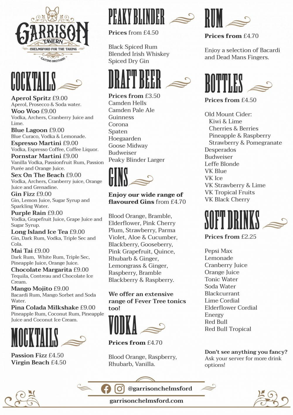 Garrison A4 Drinks Menu Spring 2021 v2